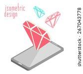 mobile phone in isometric... | Shutterstock .eps vector #267043778