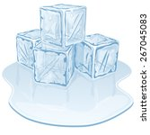 blue half melted ice cube pile. ... | Shutterstock .eps vector #267045083