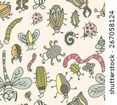 cute cartoon insect pattern.... | Shutterstock .eps vector #267058124