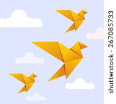 Flying origami yellow bird on blue background with white cloud for International Peace Day and Earth Day celebration. Bird can use logo or icon. Vector Origami Gold Bird. Paper Bird Flying on Heaven.