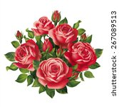 Stock vector red roses bouquet vector eps 267089513