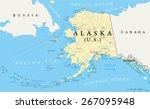 us state alaska political map... | Shutterstock .eps vector #267095948