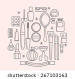 beauty and cosmetics thin line... | Shutterstock .eps vector #267103163