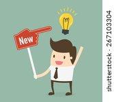 businessman showing he has new... | Shutterstock .eps vector #267103304