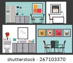 house areas design over grey... | Shutterstock .eps vector #267103370