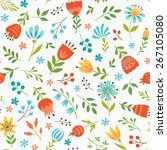 seamless floral pattern with... | Shutterstock .eps vector #267105080