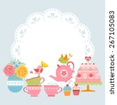 Tea Party Invitation With Cute...