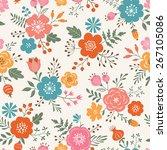 seamless decorative flowers... | Shutterstock .eps vector #267105086