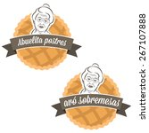 illustration label cake with... | Shutterstock .eps vector #267107888