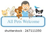 vet and pets holding sign  | Shutterstock .eps vector #267111350
