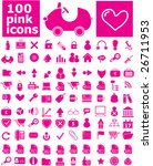 100 pink icons   easy edit... | Shutterstock .eps vector #26711953