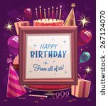 happy birthday greeting card.... | Shutterstock .eps vector #267124070