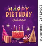 happy birthday greeting card.... | Shutterstock .eps vector #267124073