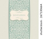 vintage card with damask... | Shutterstock .eps vector #267130664