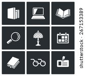 library icons  book shelf ... | Shutterstock .eps vector #267153389