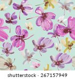 beautiful watercolor floral... | Shutterstock . vector #267157949