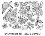 Stock vector set of black and white doodle flowers set of floral design elements 267165980