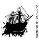 Vector silhouette of sailing pirate ship in grunge style - stock vector