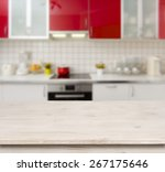 wooden table on red modern... | Shutterstock . vector #267175646