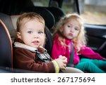 cute small children in car... | Shutterstock . vector #267175694