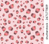 cupcake retro fabric   colorful ... | Shutterstock .eps vector #267177809