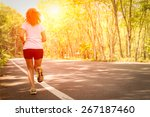 young women running on rural... | Shutterstock . vector #267187460