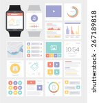 smart watch. ui kit. flat...