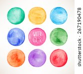 Set Of Nine Colorful Watercolo...