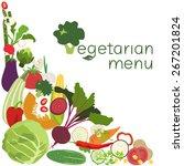 vegetarian menu. the vegetables | Shutterstock .eps vector #267201824