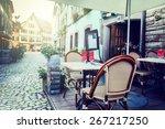 cafe terrace in small european... | Shutterstock . vector #267217250