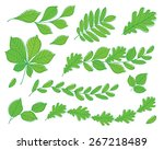 set of leaves of various trees. ... | Shutterstock .eps vector #267218489