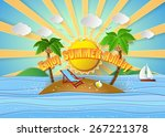 tropical palm on island with... | Shutterstock .eps vector #267221378