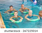 group of happy people with swim ...   Shutterstock . vector #267225014