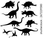 Set Of The Dinosaur Silhouette...