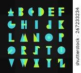 funky geometric alphabet... | Shutterstock .eps vector #267233234