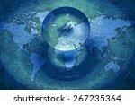 fantastic texture   ufos over... | Shutterstock . vector #267235364