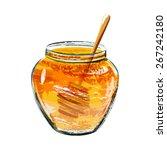 glass jar of honey with wooden... | Shutterstock .eps vector #267242180