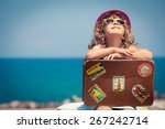 Child With Vintage Suitcase On...