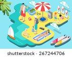 Isometric People Flat Beach...