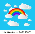 white clouds with rainbow | Shutterstock .eps vector #267259859