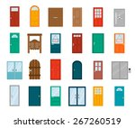 colorful front doors to houses... | Shutterstock .eps vector #267260519