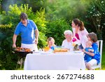 grill barbecue backyard party.... | Shutterstock . vector #267274688