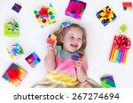 happy laughing little girl ...   Shutterstock . vector #267274694