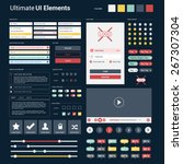 ultimate dark web ui elements   ... | Shutterstock .eps vector #267307304