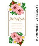 invitation with floral... | Shutterstock .eps vector #267310256