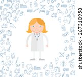 medical icons doodle. vector... | Shutterstock .eps vector #267310958