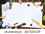 multiethnic people meeting... | Shutterstock . vector #267325139