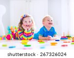 kids playing with toys. two... | Shutterstock . vector #267326024