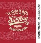 hawaii surfing  vintage artwork ... | Shutterstock .eps vector #267330920