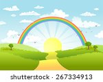 rural scene with rainbow and... | Shutterstock .eps vector #267334913